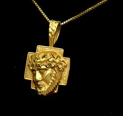 Detailed Religious Gold Pendant on 18in Box Chain