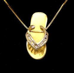 Fun Gold Flip Flop Pendant with Diamond Accents, 18in