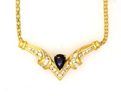 Radiant Sapphire & Diamond Necklace in Gold, 16in