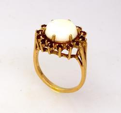 Vintage Opal & Garnet Cocktail Ring in Gold, Size 7.75