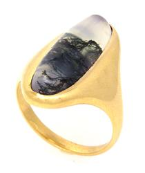 Vintage-Style Moss Agate Ring in Gold, Size 4.5