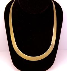 Italian Gold Herringbone Necklace, 20in