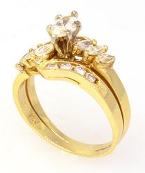 Ornate Marquise Diamond Ring in Gold, Size 6.5