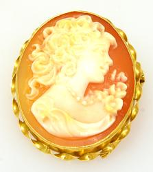 18K Gold Orange Cameo Pin/Pendant