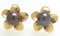 Black Pearl Flower Earrings in Gold