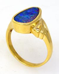 Alluring Fire Opal Doublet Ring in Gold, Size 7