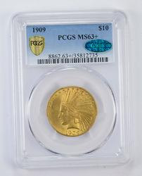 MS63+ 1909 CAC $10.00 Indian Head Gold Eagle - Graded by PCGS
