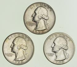 Lot (3) 1940 1943-D & 1956 Washington Silver Quarters - Choice