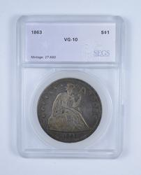 VG10 1863 Seated Liberty Silver Dollar - Graded by SEGS