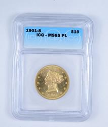 MS65 PL 1901-S $10.00 Liberty Head Gold Eagle - Graded by ICG