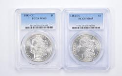 Lot (2) MS65 1883-CC & 1884-CC Morgan Silver Dollars - Graded by PCGS