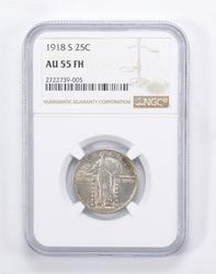 AU55 FH 1918-S Standing Liberty Quarter - Graded by NGC
