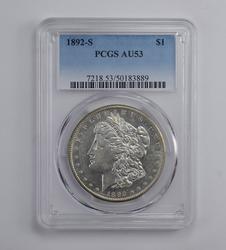 AU53 1892-S Morgan Silver Dollar - Graded PCGS
