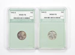 Lot (2) MS66 FB 1940-S & 1942-S Mercury Dimes - Graded NTC