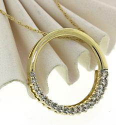 Half Shared Prong Diamond Circle Necklace