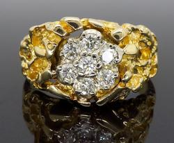 14K Yellow Gold Nugget Style Diamond Ring