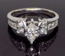 14K White Gold Marquise Cut Diamond Ring