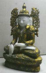 Antique Mandalay Burmese Gold leaf Marble Buddha