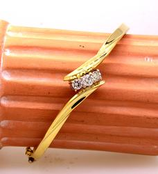 .40ct Diamond Crossover Hinged Bangle Bracelet in Gold