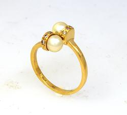 Double Pearl & Diamond Ring in Gold, Size 6.75