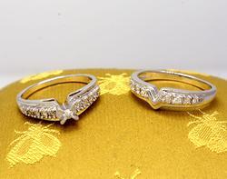 14K White Gold Diamond Wedding Set, Size 7