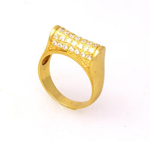 Unique CZ Dome Ring in Gold, Size 7