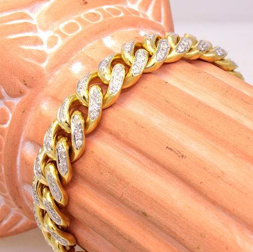 Fantastic Mens Diamond Curb Link Bracelet in Gold
