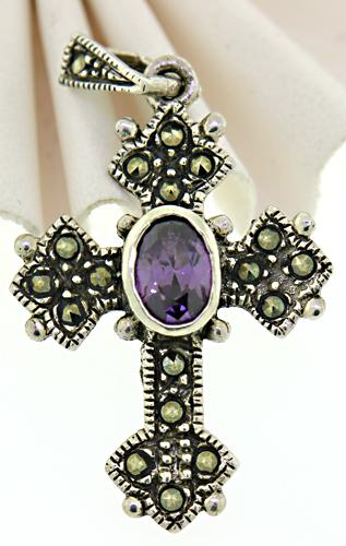 Vintage Sterling Silver Amethyst and Marcasite Pendant