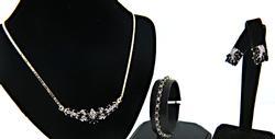 Blue Sapphire and Diamond Necklace, Bracelet Earrings