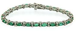 Marquise Emerald and Diamond Bracelet