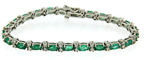 Marquise Emerald and Diamond Bracelet