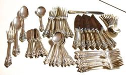 53 Piece Set Of Wallace Grand Baroque Sterling Flatware