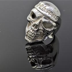 Big Mens Skull Ring in Sterling, Size 12