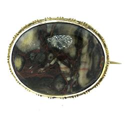 Very Old Polished Agate Pin, Sterling Bezel