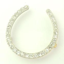 Diamond Horseshoe Pin, Platinum/Gold