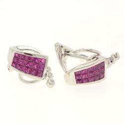 Super Modern Pink Sapphire and Diamond Earrings