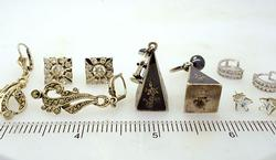 Sterling Estate Earring Lot w CZ, Siam, and Marcasites