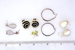 Estate Lot of Five Pairs of Earrings, Sterling, MOP