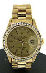 Rolex 18kt President Diamond Bezel Watch