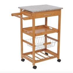 31 inches Rolling Wooden Kitchen Trolley with Wine Rack