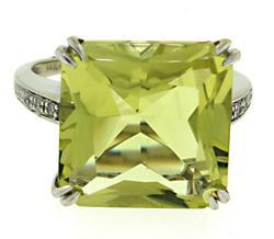 White Gold Lemon Quartz and Diamond Ring