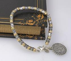 Two Tone Sterling Bracelet with Old Coin Style Charm