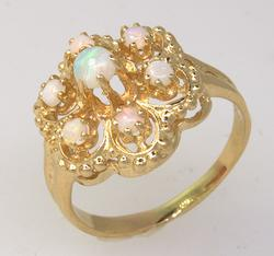 Vintage Opal Cluster Ring in Yellow Gold