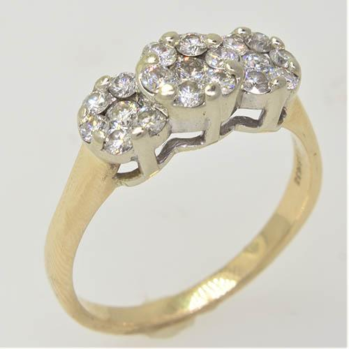 Sparkling 1.25 CTW Triple Cluster Diamond Ring