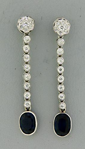 Flashy Blue Sapphire and Diamond Dangle Earrings