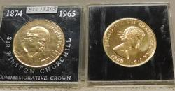 2 each  British  1965 Chirchill Crowns, Gold plated.