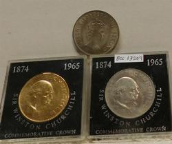 3 each British Crowns: Orig. Churchill & Gold & Jersey