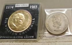2 each British Crown coins:  Gold Churchill & Jersey