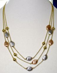Beautifully Designed 14K Triple Strand Bead-Accented Necklace