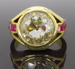 18K Yellow Gold Old European Cut Diamond Ring